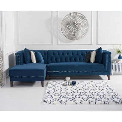 Tammie Blue Velvet Left Facing Chaise Sofa