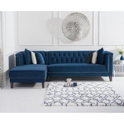 Tammie Blue Velvet Left Facing Chaise Sofa