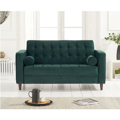 Ria Green Velvet 2 Seater Sofa