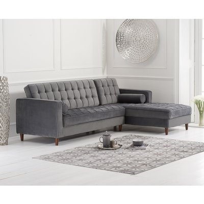 Arena Grey Velvet Right Facing Chaise Sofa