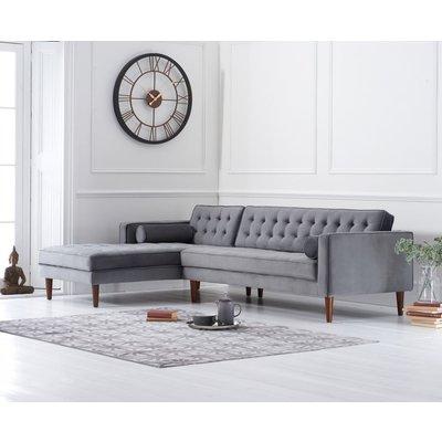 Ilana Grey Velvet Left Facing Chaise Sofa