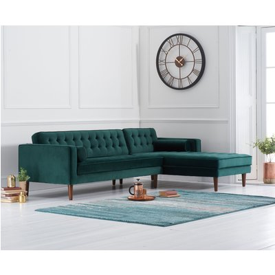 Ilana Green Velvet Right Facing Chaise Sofa