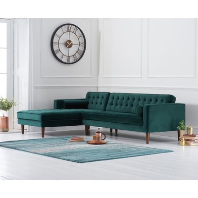 Ilana Green Velvet Left Facing Chaise Sofa