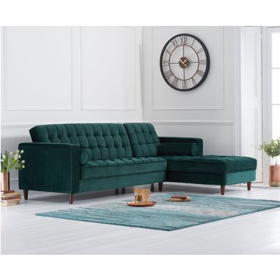 Arena Green Velvet Right Facing Chaise Sofa