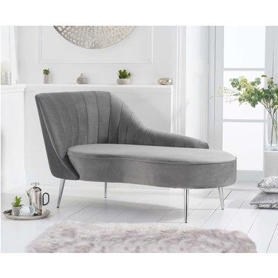 Jaqueline Left Facing Grey Velvet Chaise