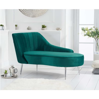 Jaqueline Left Facing Green Velvet Chaise