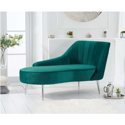 Jaqueline Right Facing Green Velvet Chaise