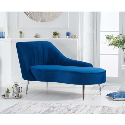 Jaqueline Left Facing Blue Velvet Chaise