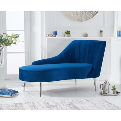 Jaqueline Right Facing Blue Velvet Chaise