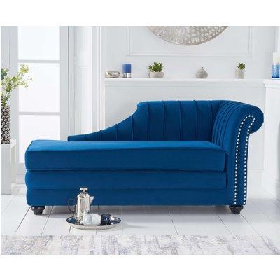 Leah Right Facing Blue Velvet Chaise