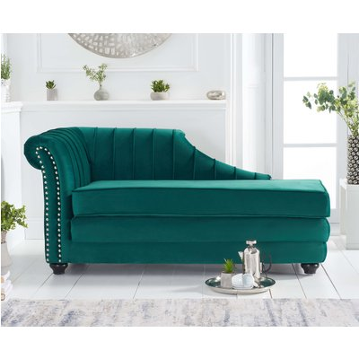 Leah Left Facing Green Velvet Chaise