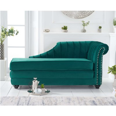 Leah Right Facing Green Velvet Chaise