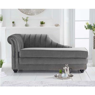 Leah Left Facing Grey Velvet Chaise