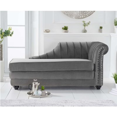 Leah Right Facing Grey Velvet Chaise