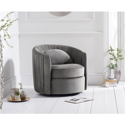 Sadie Grey Velvet Swivel Chair