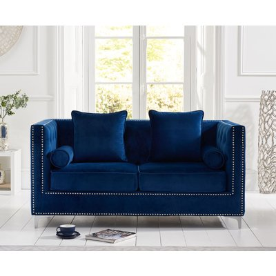 New Jersey Blue Velvet 2 Seater Sofa