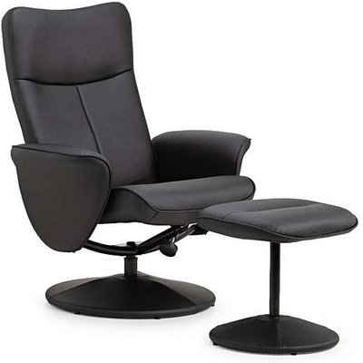 Lucas Black Faux Leather Swivel and Recline Chair