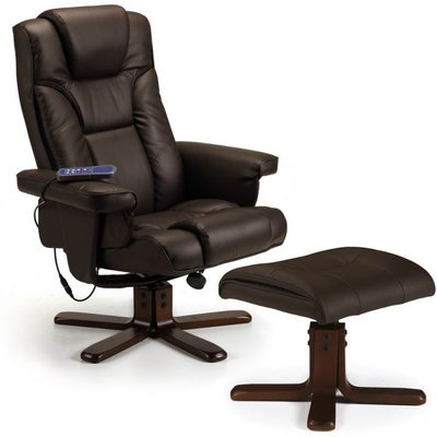 Marcus Brown Faux Leather Massage Swivel and Recline Chair