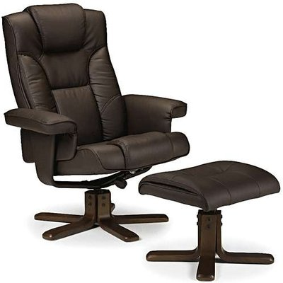 Marcus Brown Faux Leather Swivel and Recline Chair