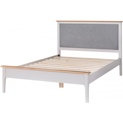 Diego Oak and Grey Double Bed Frame with Fabric Headboard