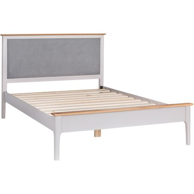 Diego Oak and Grey Kingsize Bed Frame with Fabric Headboard