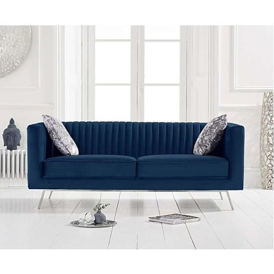 Darbie Blue Velvet 2 Seater Sofa