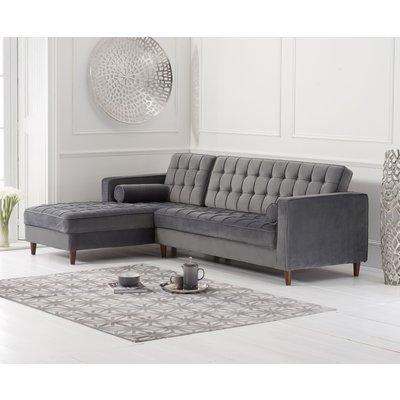 Arena Grey Velvet Left Facing Chaise Sofa