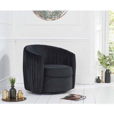 Sadie Black Velvet Swivel Chair