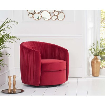 Sadie Red Velvet Swivel Chair