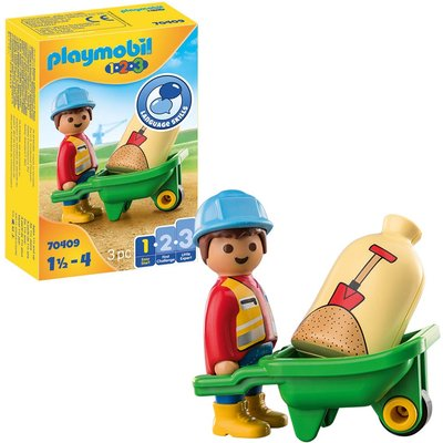 Playmobil 1.2.3 70409 Construction Worker with Wheelbarrow For 18+ Months