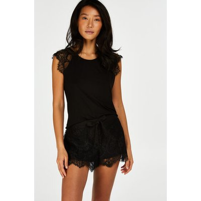 Hunkemöller Pyjama-Shorts aus Spitze Schwarz