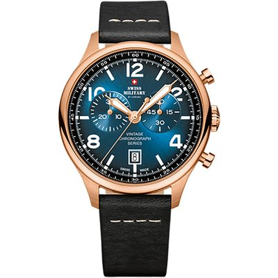 Swiss Military By Chrono Gent's Chronograph Watch with Genuine Leather Strap