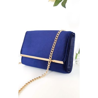 IKRUSH Womens Millar Velvet Gold Chain Cross Body Bag, Navy