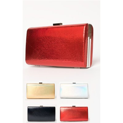 IKRUSH Womens Anneke Croc Metallic Clutch Bag