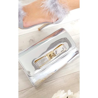 IKRUSH Womens Nadia Metallic Bow Detail Clutch Bag