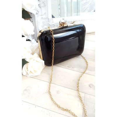 IKRUSH Womens Elena Shiny Mirror Effect Clutch Bag, Black
