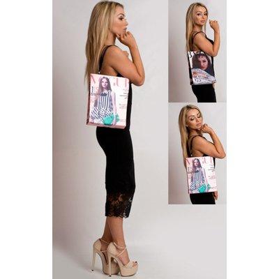 IKRUSH Womens Harlie Magazine Print Handbag, Lilac