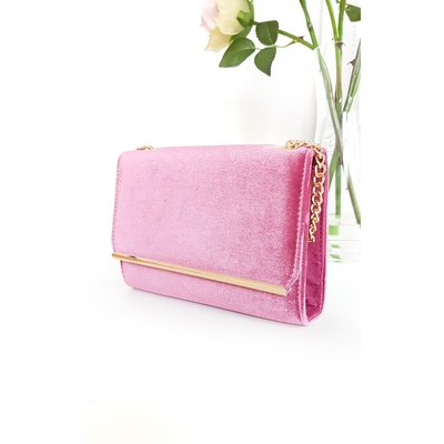 IKRUSH Womens Millar Velvet Gold Chain Cross Body Bag, Pink