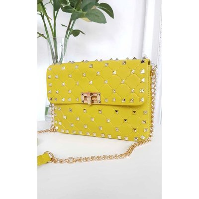 IKRUSH Womens Harriet Studded Quilted Crossover Bag, Mustard