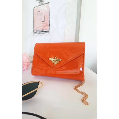 IKRUSH Womens Lara Bee Embellished Envelope Clutch Bag, Orange