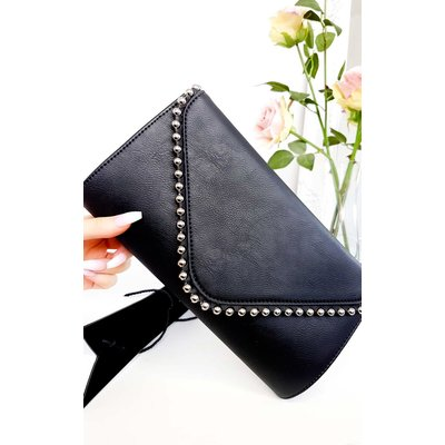 IKRUSH Womens Tiff Studded Envelope Faux Leather Clutch Bag