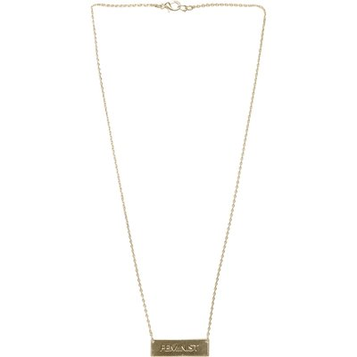 Feminist Chain Bar Necklace In Gold