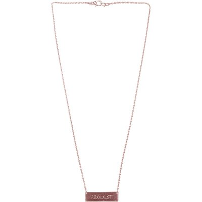 Feminist Chain Bar Necklace In Rose Gold