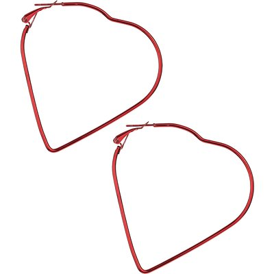 So Young Oversized Thin Heart Shaped Hoop Earrings In Red