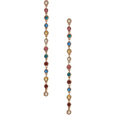 Stop And Stare Multicolour Gem Drop Earrings In Gold