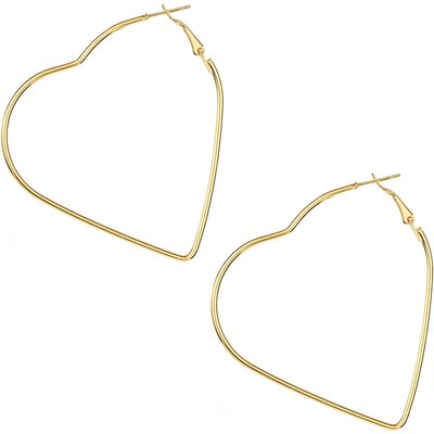 So Young Oversized Thin Heart Shaped Hoop Earrings In Light Gold