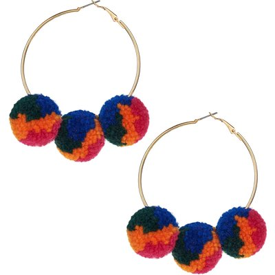 Rio Oversized Multi Pom Pom Hoops In Gold