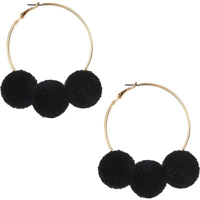 Rio Oversized Black Pom Pom Hoops In Gold