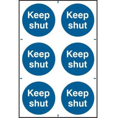 ASEC Keep Shut 200mm x 300mm PVC Self Adhesive Sign