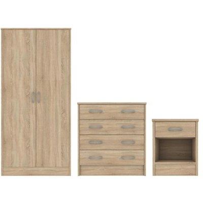 Bardalona Trio Wardrobe  Chest and Bedside - 5055792032079